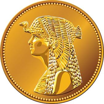 Wektor egipskie pieniądze, złota moneta z królową kleopatrą