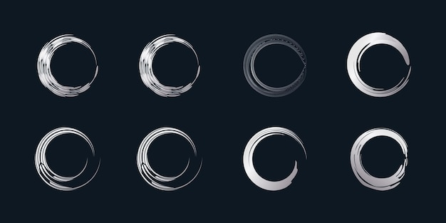 Wektor element pędzla okrągłego z kreatywnym srebrnym kształtem premium wektorów część 2