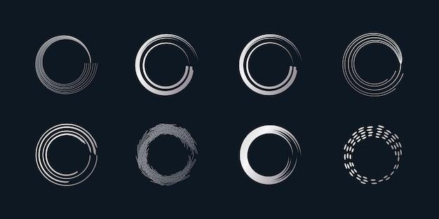 Wektor element pędzla okrągłego z kreatywnym srebrnym kształtem premium wektorów część 3