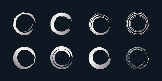 Wektor element pędzla okrągłego z kreatywnym srebrnym kształtem premium wektorów część 4