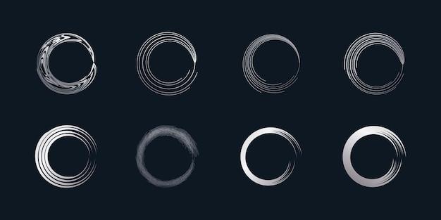 Wektor element pędzla okrągłego z kreatywnym srebrnym kształtem premium wektorów część 5
