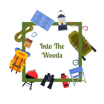 Wektor elementy płaskie camping styl ramki z latania wokół niego z miejscem na tekst w centrum ilustracji