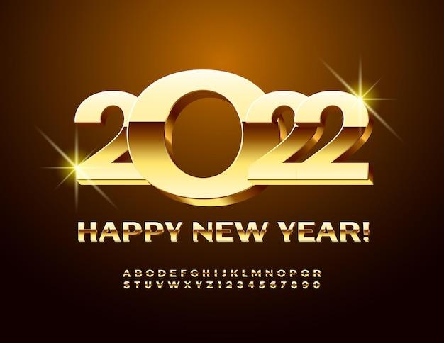 Wektor elitarnej karty z pozdrowieniami szczęśliwego nowego roku 2022 3d złoty alfabet litery i cyfry zestaw