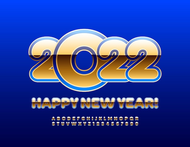 Wektor elitarnej karty z pozdrowieniami szczęśliwego nowego roku 2022 niebieski i złoty alfabet litery i cyfry set