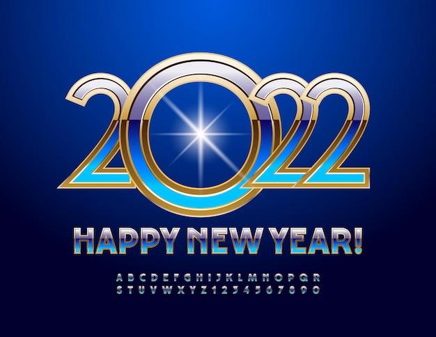 Wektor elitarnej karty z pozdrowieniami szczęśliwego nowego roku 2022 złote i niebieskie litery alfabetu i cyfry gradientu