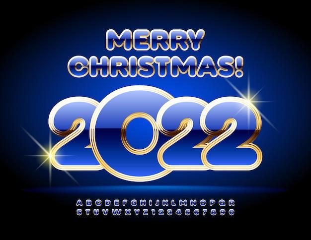 Wektor elitarnej karty z pozdrowieniami wesołych świąt 2022 niebieskie i złote błyszczące litery alfabetu i cyfry