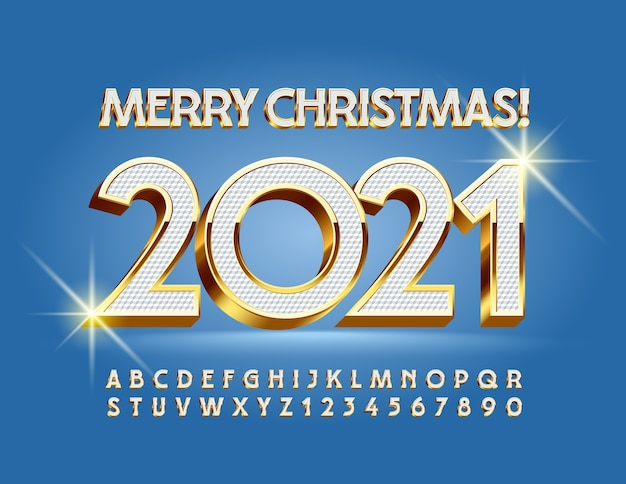 Wektor elitarny kartkę z życzeniami wesołych świąt 2021! elegancka wielka czcionka. 3d białe i złote litery alfabetu i cyfry