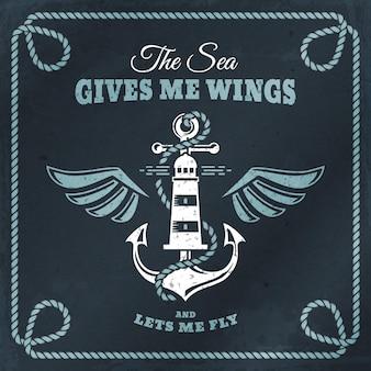 Wektor emblemat z kotwicą, latarnią morską i skrzydłami. morski baner z rocznika odznaką, inspirującym cytatem i ramą z liny. rejs morski, podróże żeglarskie lub motywy nawigacyjne.