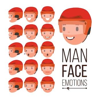Wektor emocje człowieka. przystojny mężczyzna twarz. zestaw różnych wyrażeń avatar męskiej twarzy. śliczne, radość, śmiech, smutek. ludzkie portrety psychologiczne