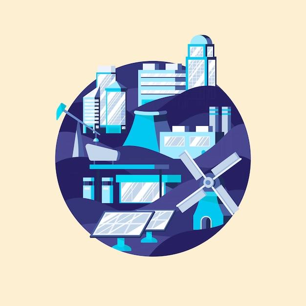 Wektor energii alternatywnej na niebiesko