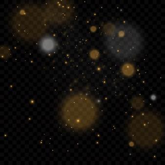 Wektor eps 10 cząstek złota. świecące żółte koła bokeh, lśniący złoty pył abstrakcyjna złota luksusowa dekoracja tła