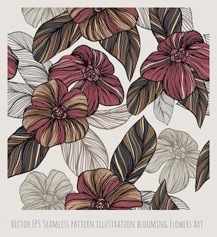 Wektor eps bezszwowy wzór pokrywający się ilustracyjny kwitnienie kwiaty sztuka.