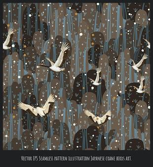 Wektor eps ilustracja bez szwu deseń japońska sztuka ptaków żurawia.
