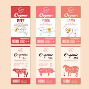 Wektor etykiety rzeźnicze z sylwetkami zwierząt gospodarskich. ikony krów, kurczaków, świń, jagnięciny z indyka i kaczki oraz tekstury mięsa dla artykułów spożywczych, sklepów mięsnych, opakowań i reklam