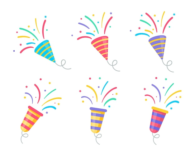 Wektor fajerwerków rysuje imprezę. konfetti unoszące się z urodzinowych fajerwerków