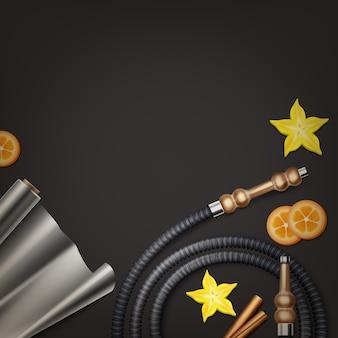 Wektor fajka płaska leżała z zwiniętym wężem shisha, rolką folii, gwiazdą i owocami na ciemnym widoku z blatu