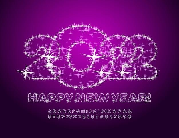 Wektor fantastyczna kartka z życzeniami szczęśliwego nowego roku 2022 nowoczesna musująca czcionka gwiazdy błyszczący alfabet