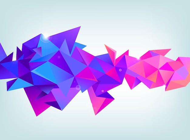Wektor fasetowany 3d kryształ kolorowy kształt, baner. kryształ, orientacja pozioma kolory fioletowy i różowy. użyj jako tła, nagłówka internetowego, reklamy itp.