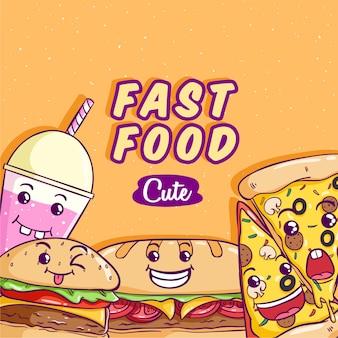 Wektor fast food z cute lub kawaii twarzy na pomarańczowo