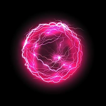 Wektor fioletowa kula energii z oświetleniem