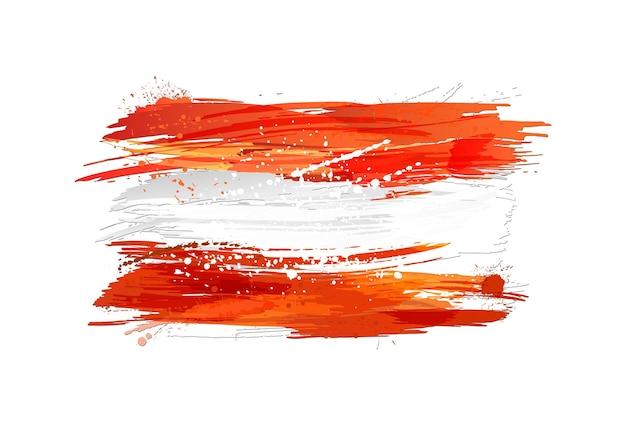 Wektor flaga austrii z kolorowymi plamami