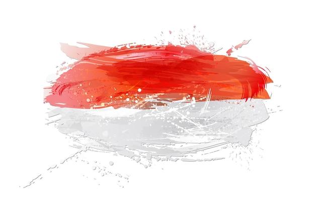Wektor flaga indonezji z kolorowymi plamami