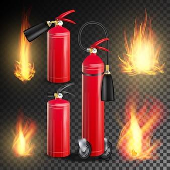 Wektor gaśnica. płonący ogień płomień i metal połysk realistyczna czerwona gaśnica. przezroczysta ilustracja