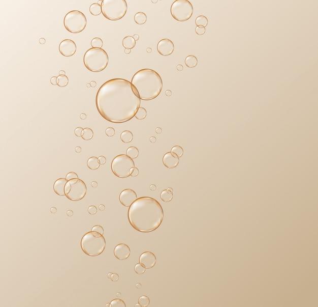 Wektor gazowane bąbelki szampana na złotym