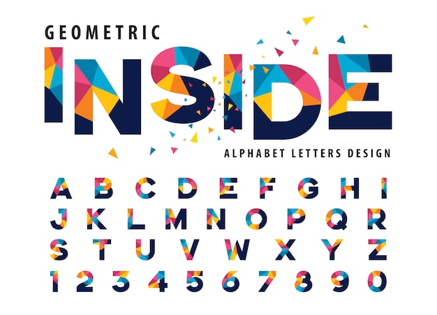 Wektor geometryczne litery alfabetu, kolorowy trójkąt list