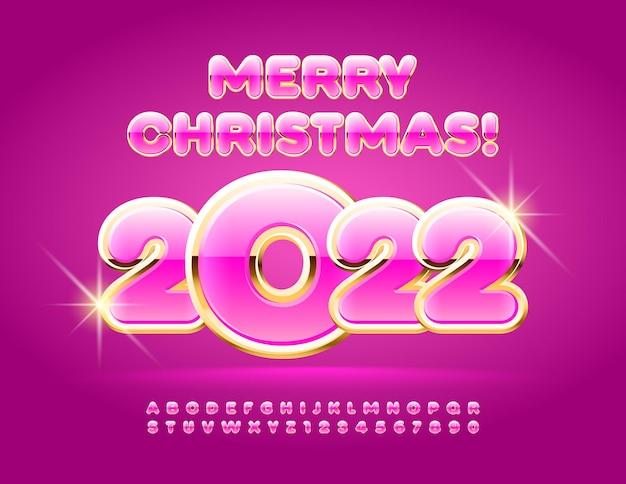 Wektor glamour kartkę z życzeniami wesołych świąt 2022 różowy i złoty zestaw liter alfabetu i cyfr