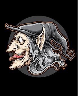 Wektor głowa czarownicy