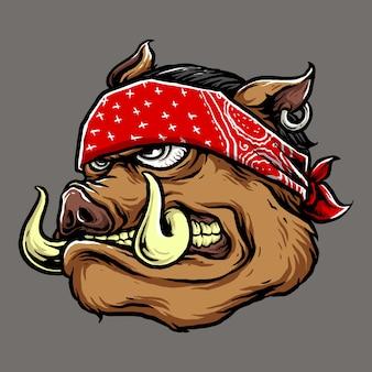 Wektor głowa świni gangstera z czerwonymi chustka