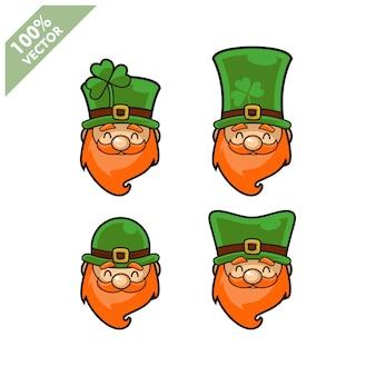 Wektor głowy krasnoludek irlandzki zestaw 4 elementów. element projektu pozdrowienia dzień świętego patryka.