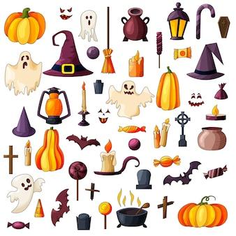 Wektor goast, dynia, ikony kapelusza. zestaw elementów halloween. upiorna ilustracja.