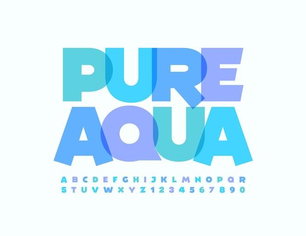 Wektor godło kreatywnych pure aqua blue artystyczne czcionki modny zestaw liter alfabetu i cyfr