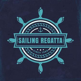 Wektor godło morskie z kierownicą i napisem regaty żeglarskie na tle grunge.