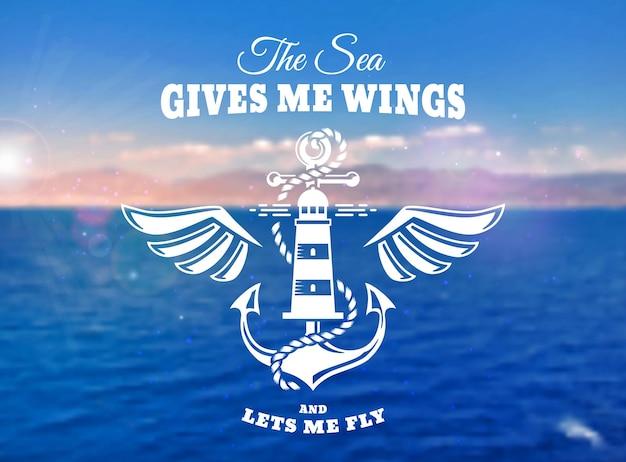 Wektor godło z kotwicą, skrzydłami, latarnią morską i inspirującym cytatem. morskie transparent z rozmazanym tłem morza.