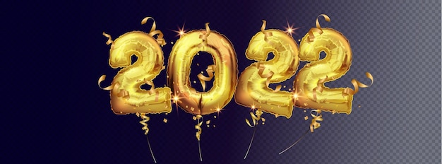 Wektor gold balony foliowe numer 2022. 2022 liczba złotych balonów foliowych na białym tle na ciemnym tle. dekoracja świąteczna i noworoczna. realistyczna ilustracja wektorowa 3d