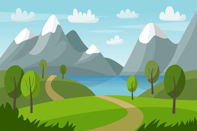 Wektor górski krajobraz z zielonymi wzgórzami, drzewami, jeziorem i drogą