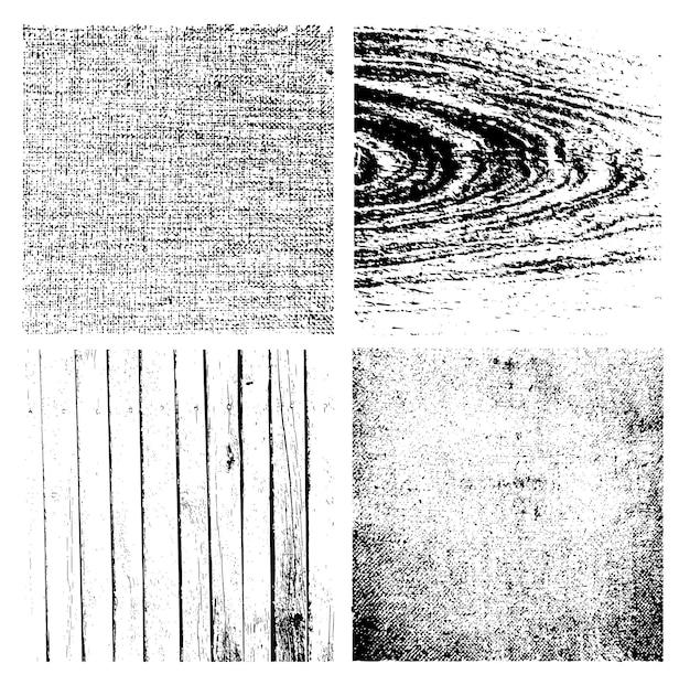 Wektor grunge tekstury zestaw - drewno, deski, ściany, płótno