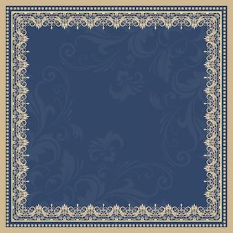 Wektor grzywny kwiatu ramki kwadratowych. element dekoracyjny na zaproszenia i karty. element granicy