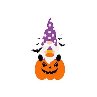 Wektor halloween gnomy z dynią na białym tle.