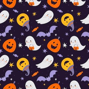 Wektor halloween tekstury w stylu płaski na niebieskim tle. nadaje się do tkanin dziecięcych, tekstyliów, papieru do pakowania