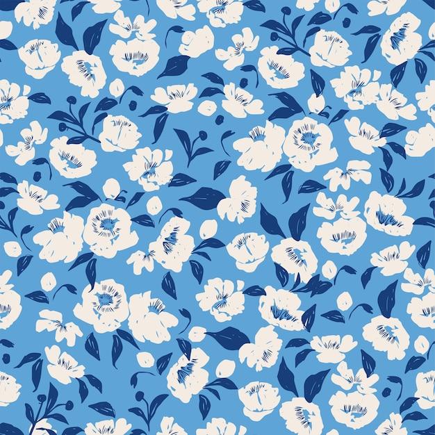 Wektor handdrawn pędzla pióra teksturowanej kwiat i liść ilustracja motyw bez szwu powtarzać wzór