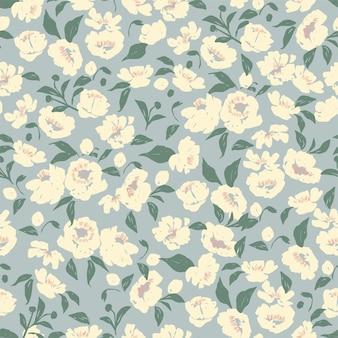 Wektor handdrawn pióro szczotka teksturowanej kwiat i liść ilustracja motyw bez szwu powtarzać wzór