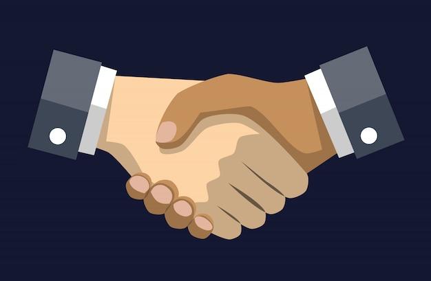 Wektor handshake rysować na niebieskim ciemnym tle,