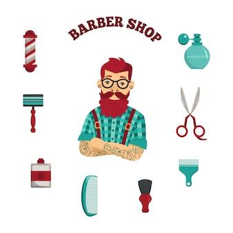 Wektor hipster człowiek fryzjer sklep akcesoria zestaw
