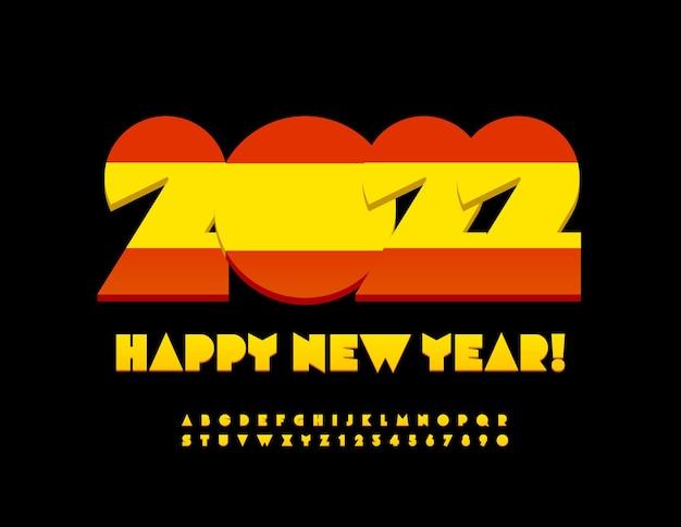 Wektor hiszpański kartkę z życzeniami szczęśliwego nowego roku 2022 jasny alfabet litery i cyfry zestaw