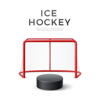 Wektor hokej na lodzie cel z netto krążek 3d