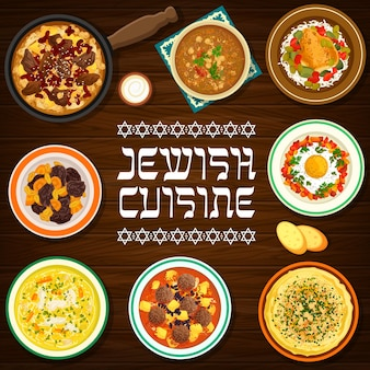 Wektor hummus kuchni żydowskiej, rosół z makaronem i szakszuką, klopsiki z sosem pomidorowym, czulent wołowy lub zupa z ciecierzycy. gulasz z jagnięciny z soczewicy z suszonymi morelami, faszerowana pierś z kurczaka jedzenie jerozolimskie
